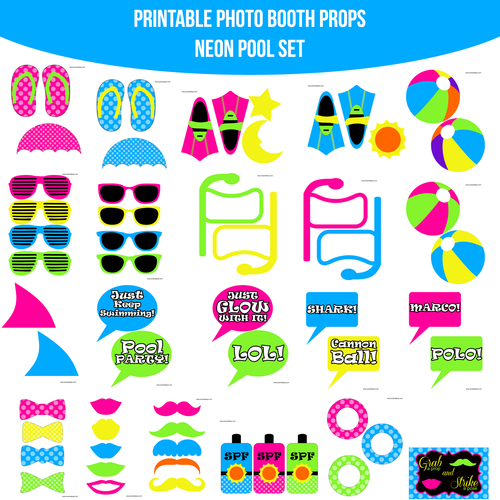 Instant Download Pool Party Neon Printable Photo Booth Prop Set