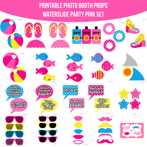 Instant Download Pool Water Slide Pink Party Printable Photo Booth