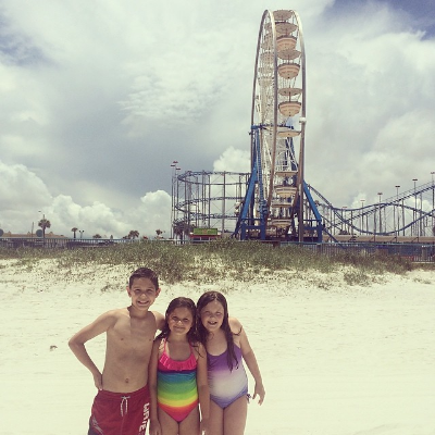 On Daytona Beach in front of the Roller Coaster