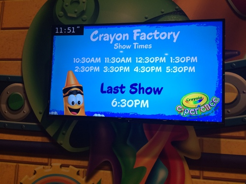 Crayola Experience Orlando, FL  TV with show times.