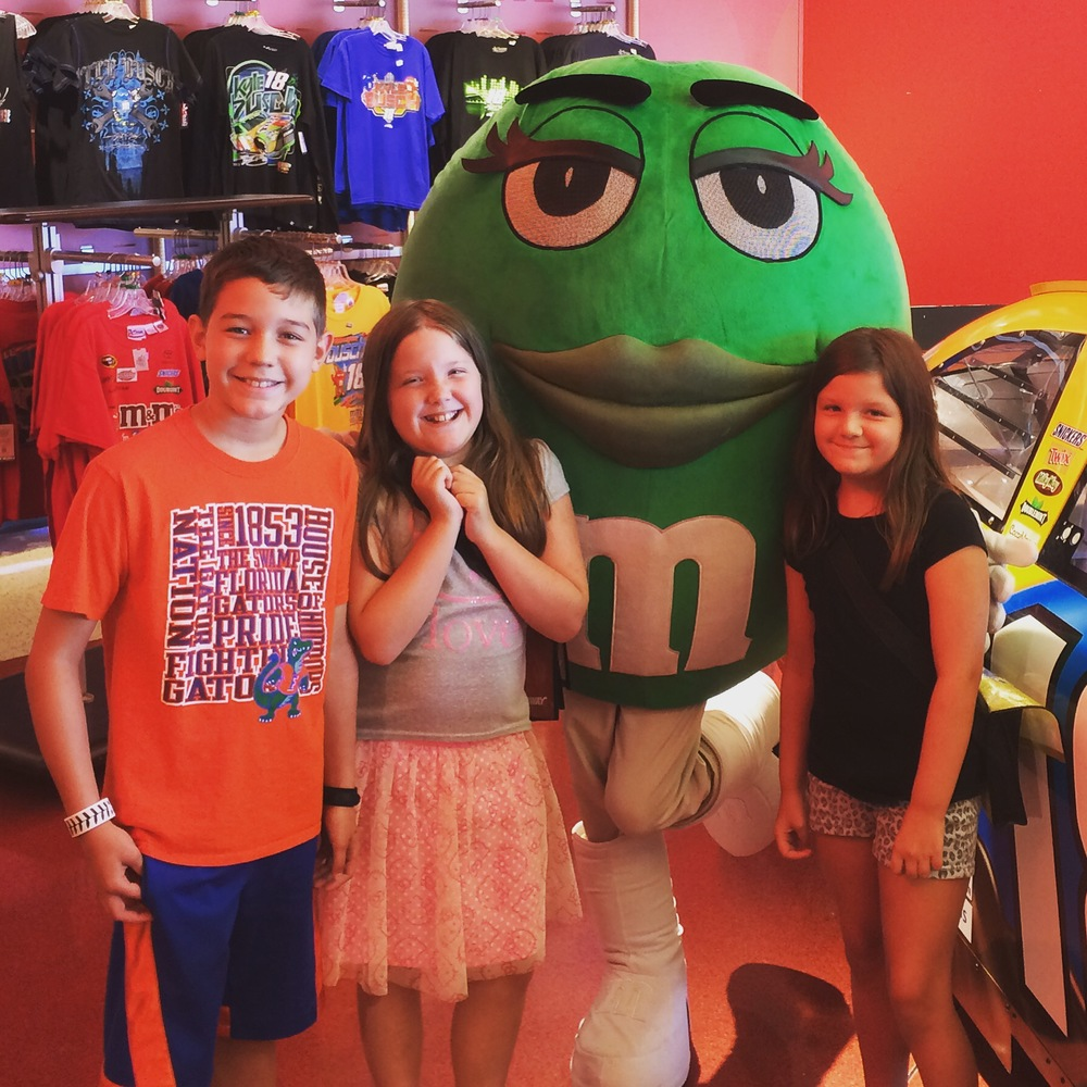 Meet and Greet with the Green M&M. Love her boots!