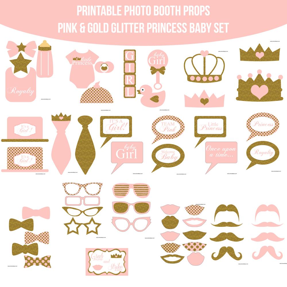 Instant Download Baby Princess Light Pink U0026 Gold Glitter Printable Photo  Booth Prop Set