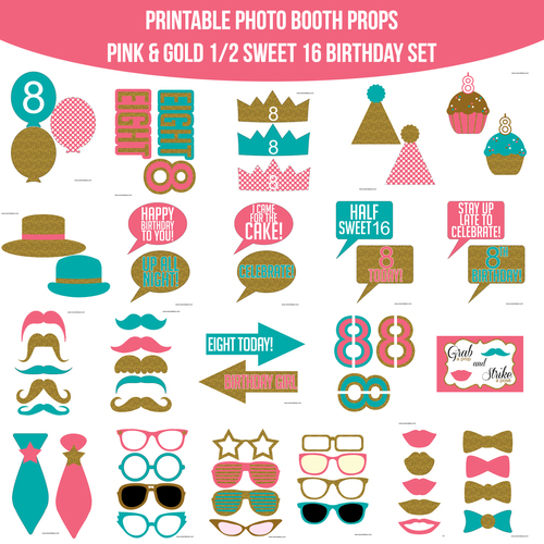 Instant Download 12 Sweet 16 Birthday Pink Teal Gold Glitter