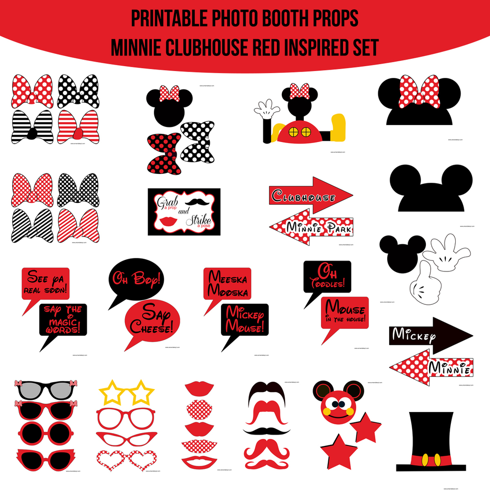 Instant Download Minnie Mouse Clubhouse Red Inspired