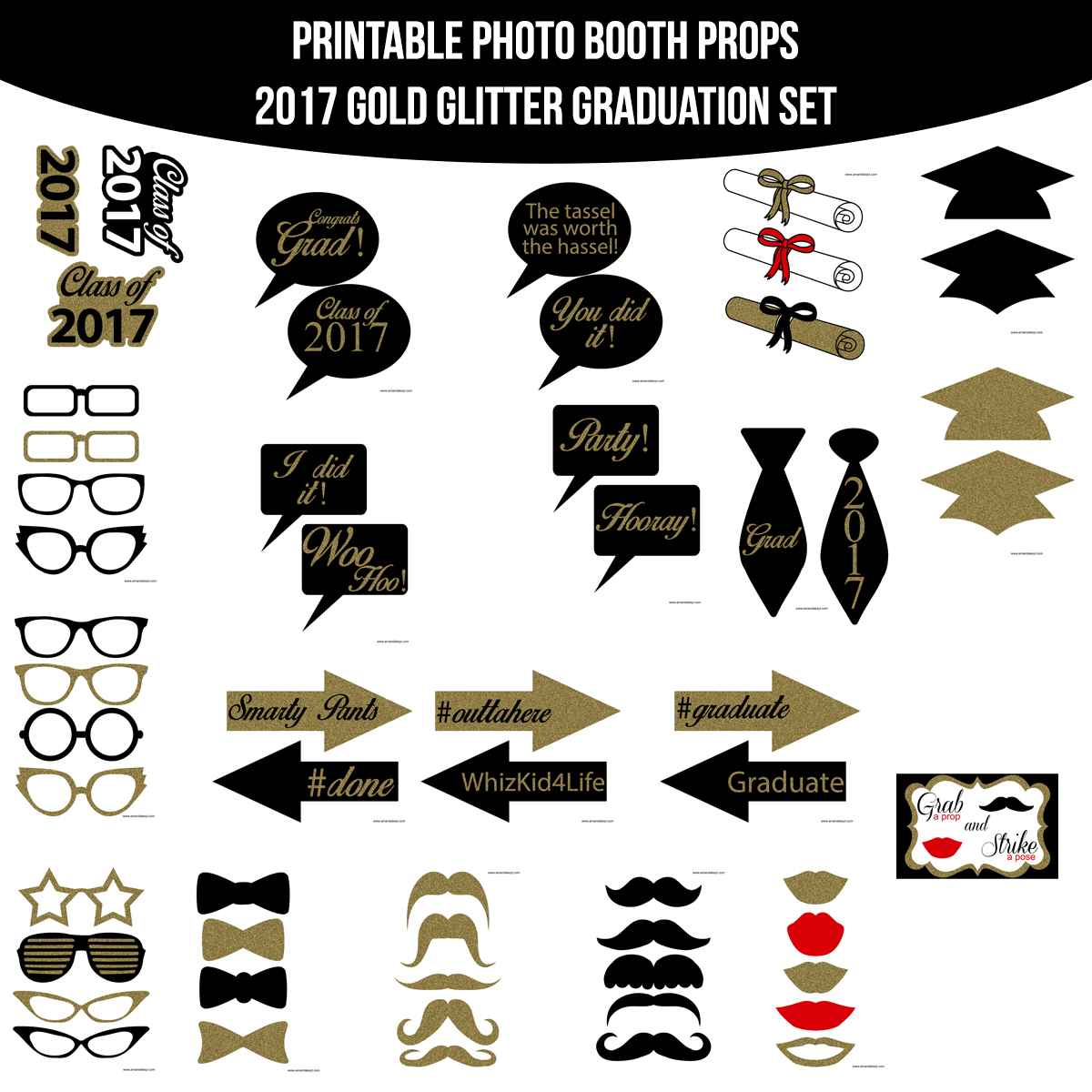 graphic about Printable Graduation Photo Booth Props named University Grad Amanda Keyt Printable Patterns