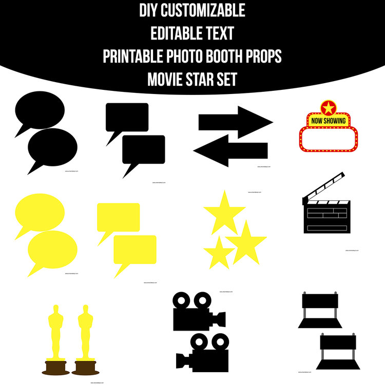 Instant Download Movie Star Customizable Editable Prop Set