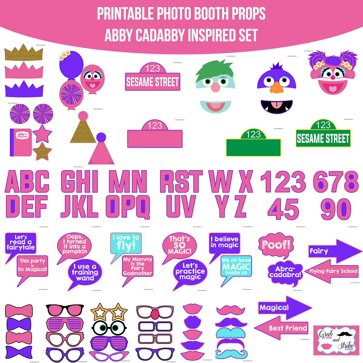 Instant Download Abby Cadabby Inspired Printable Photo Booth Prop Set Amanda Keyt Printable Designs