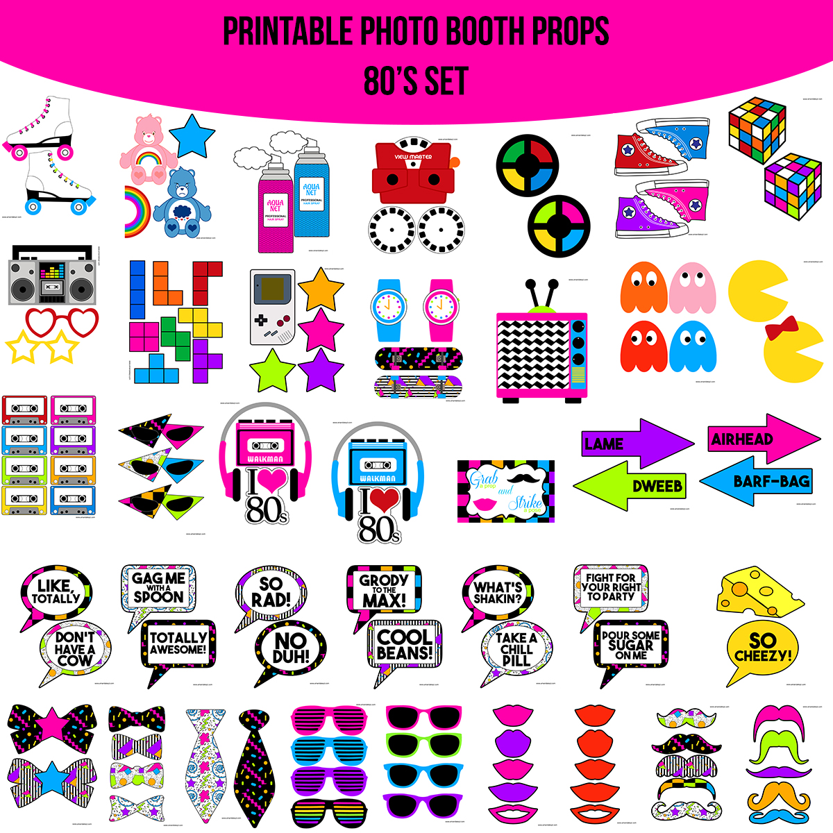 Instant Download 80s 80s Printable Photo Booth Prop Set Amanda