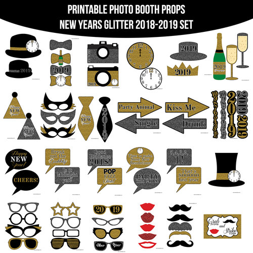instant download 2018 2019 new years glitter printable photo booth prop set