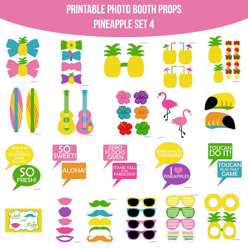 instant download pineapple printable photo booth prop set u2014 amanda