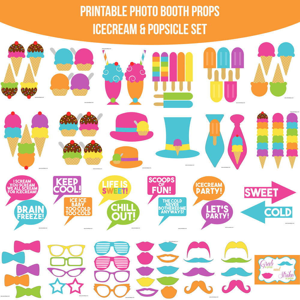 See the Set - To veiw the whole Ice Cream & Popsicle Printable Photo Booth Prop Set click here
