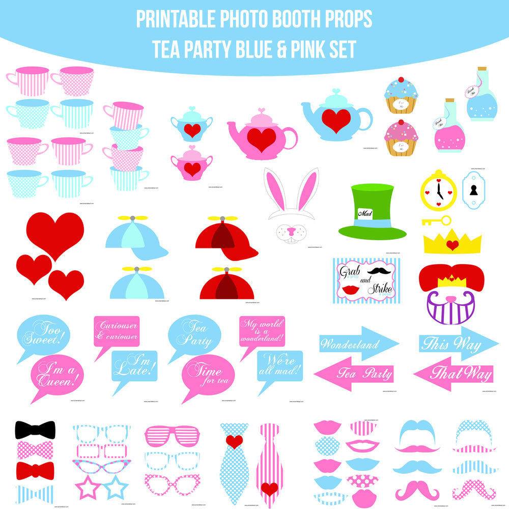 See the Set - To veiw the whole Tea Party Blue Printable Photo Booth Prop Set Click Here