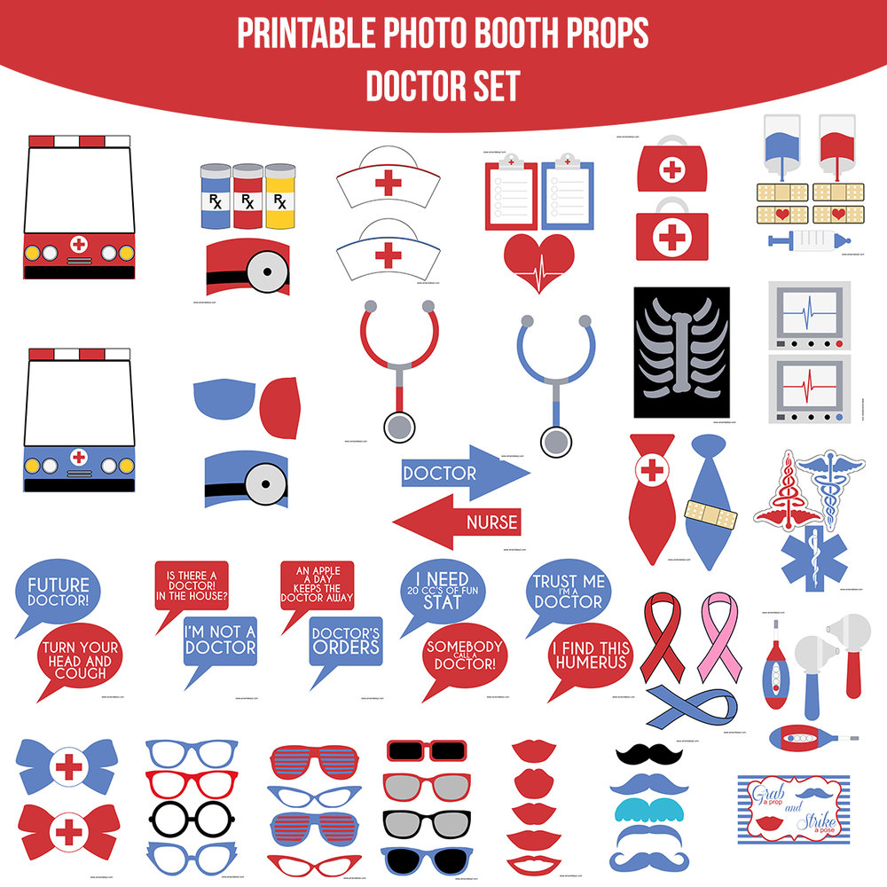 See the Set - To View The Whole Doctor Printable Photo Booth Prop Set Click Here