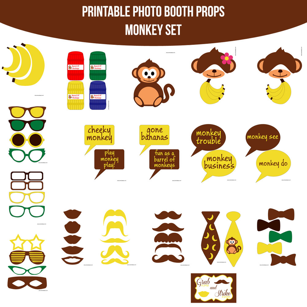 See the Set - To View The Whole Monkey Printable Photo Booth Prop Set Click Here