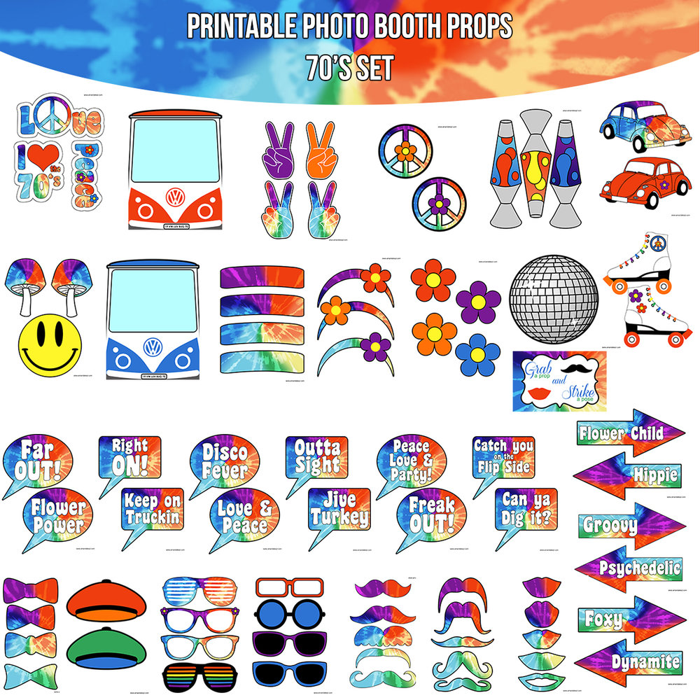 See the Set - To View The Whole 70's Tie Dye Printable Photo Booth Prop Set Click Here