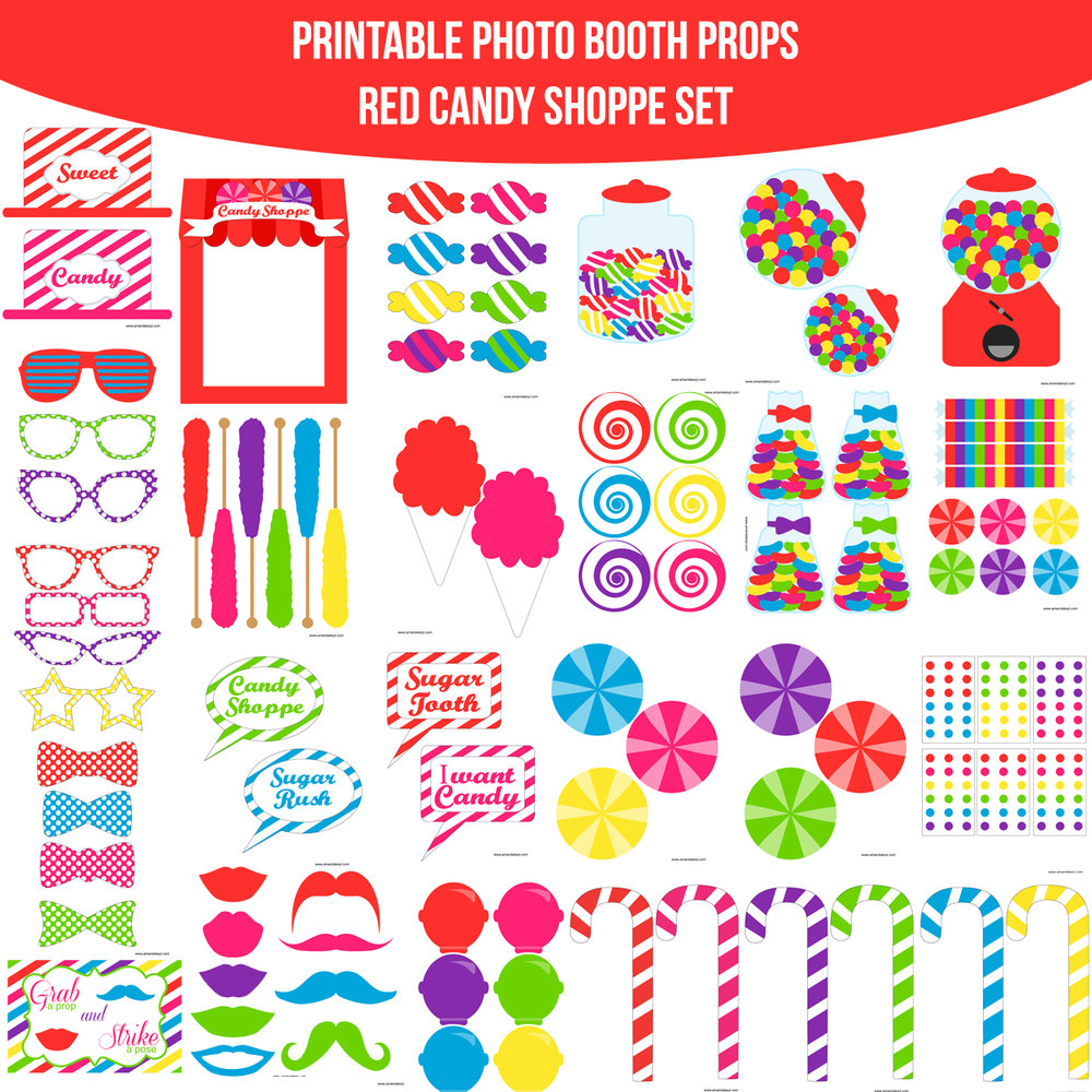See the Set - To View The Whole Candy Shoppe Red Candy Crush Inspired Printable Photo Booth Prop Set Click Here