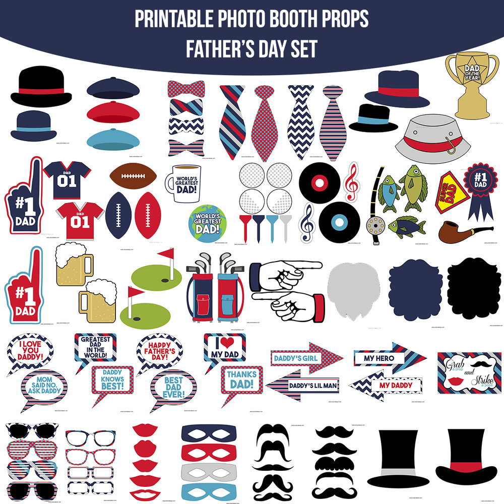 See the Set - To View The Whole Father's Day Printable Photo Booth Prop Set Click Here