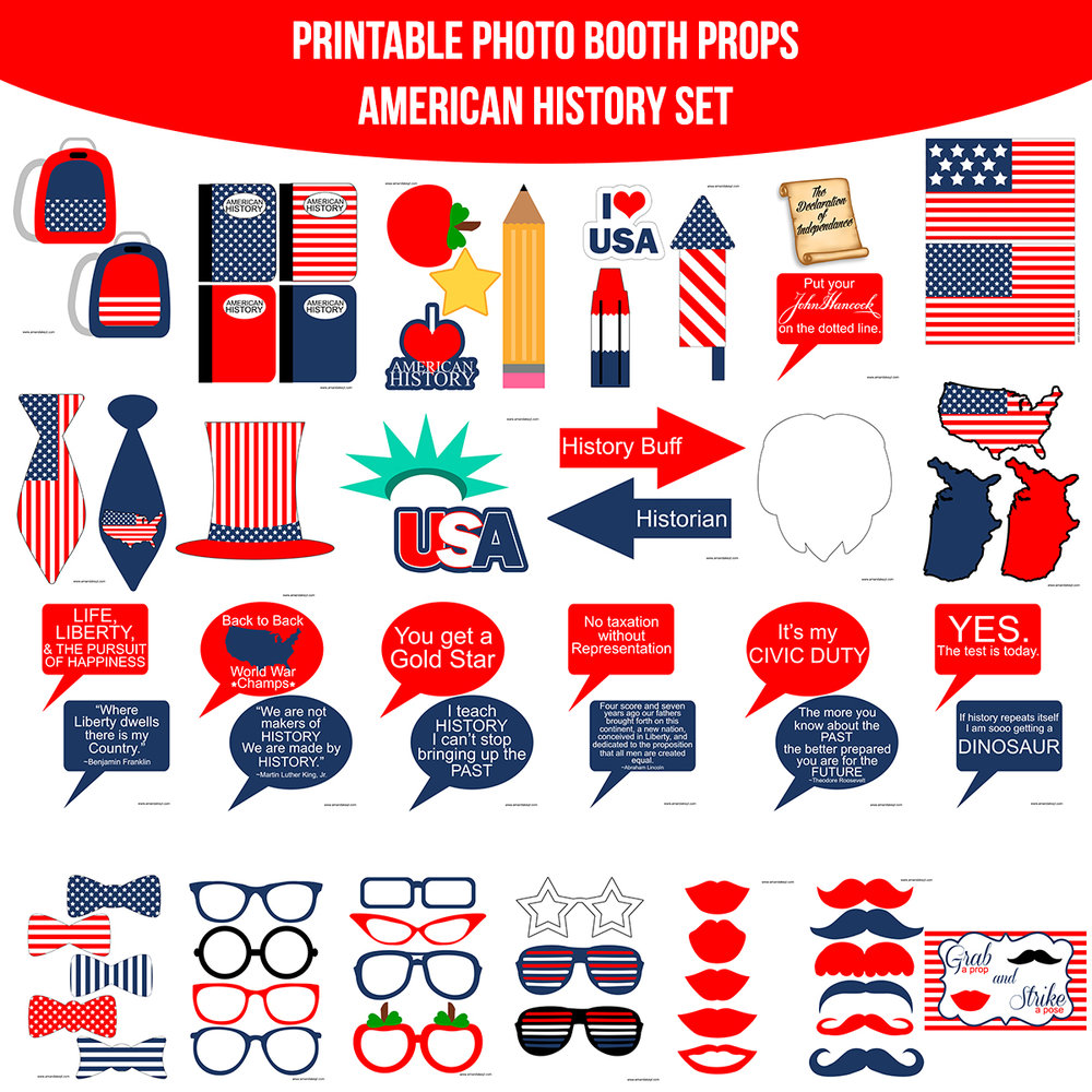 See the Set - To View The Whole American History School Printable Photo Booth Prop Set Click Here