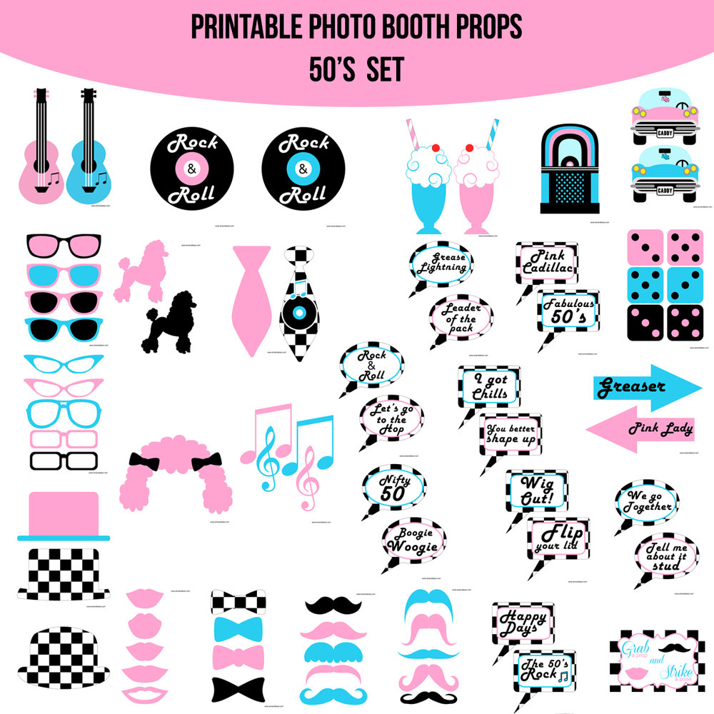 See the Set - To View The Whole 50s Pink Printable Photo Booth Prop Set Click Here