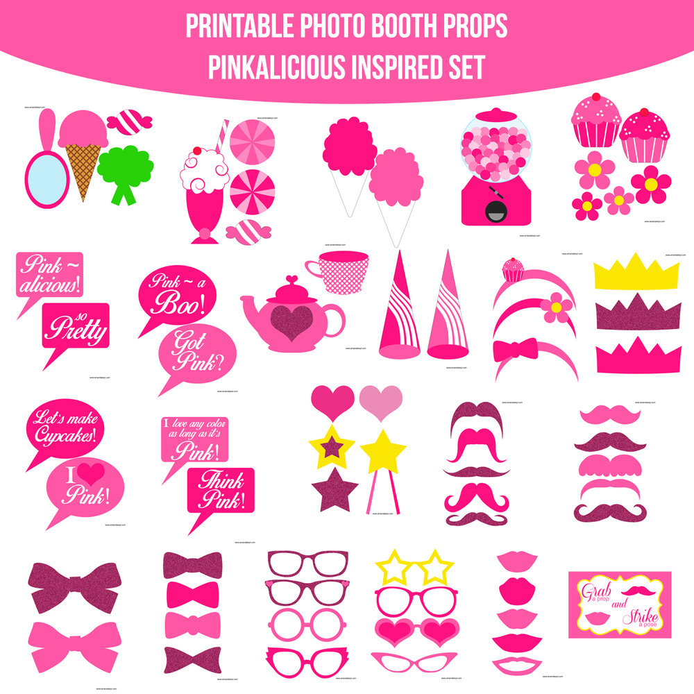 See the Set - To View The Whole Pinkalicious Inspired Printable Photo Booth Prop Set Click Here