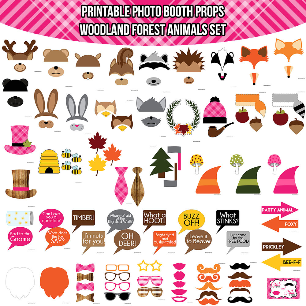 See the Set - To View The Whole Pink Woodland Forest Animals Printable Photo Booth Prop Set Click Here