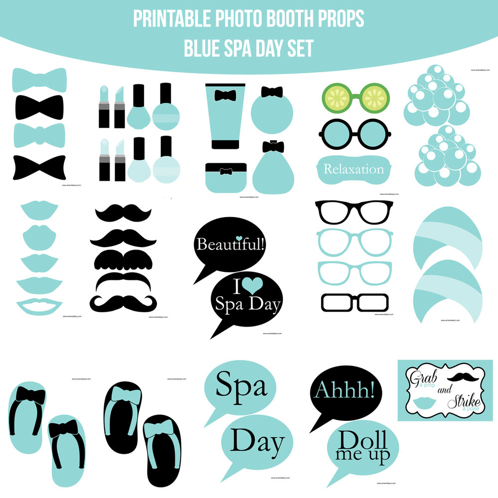 See the Set - To View The Whole Spa Blue Printable Photo Booth Prop Set Click Here