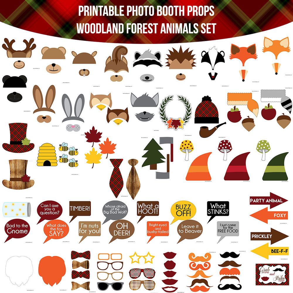See the Set - To View The Whole Woodland Forest Animals Printable Photo Booth Prop Set Click Here