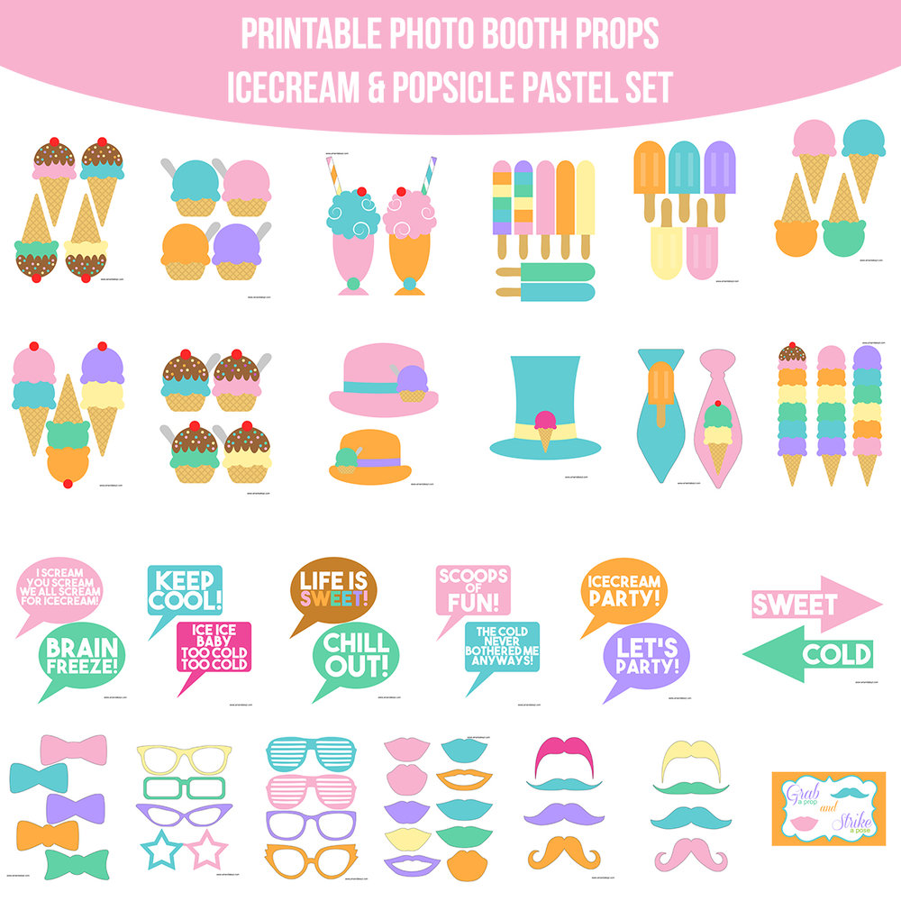 See the Set - To View The Whole Ice Cream & Popsicle Pastels Printable Photo Booth Prop Set Click Here