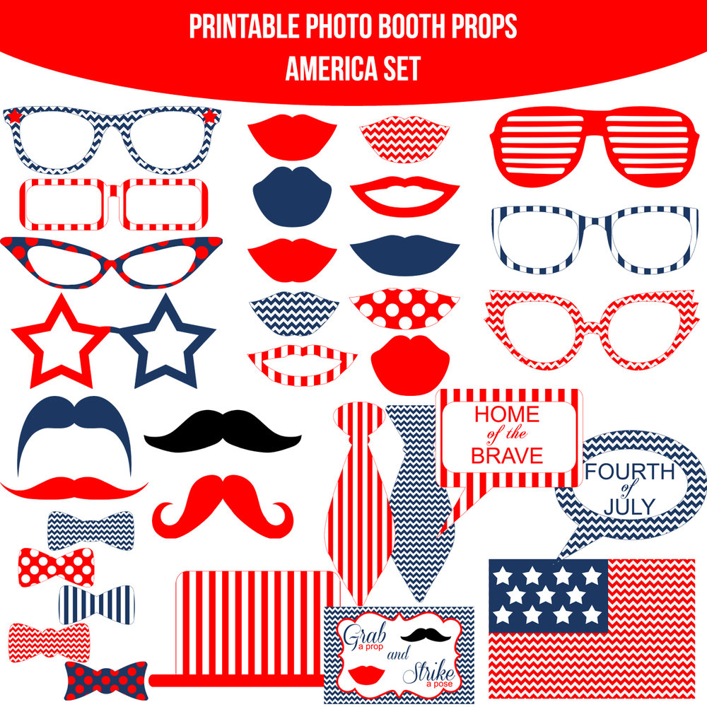 See the Set - To View The Whole America Chevron Printable Photo Booth Prop Set Click Here