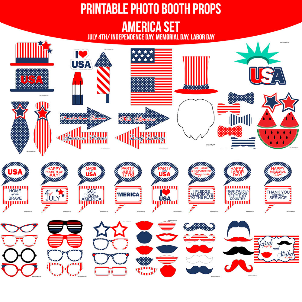 See the Set - To View The Whole America American July 4th Independence Day Memorial Day Labor Day Printable Photo Booth Prop Set Click Here