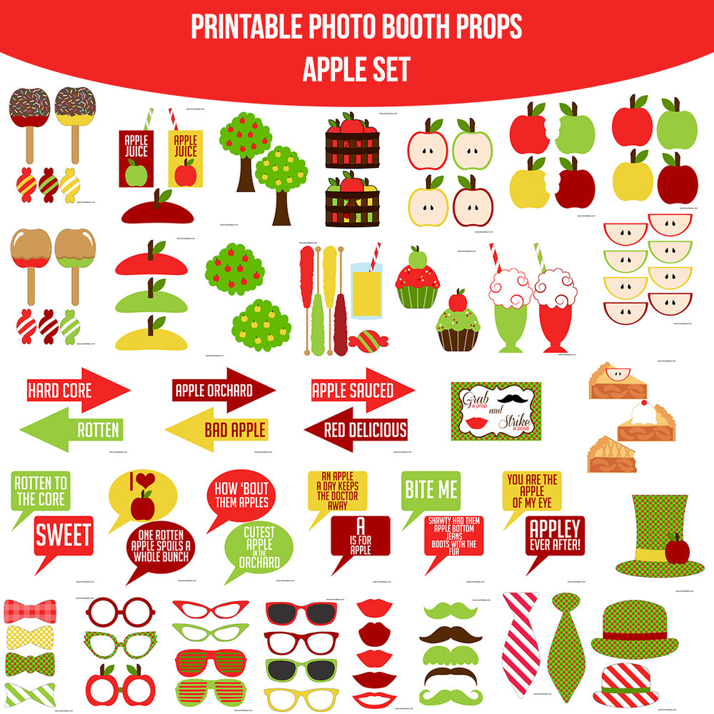 See the Set - To View The Whole Apple Printable Photo Booth Prop Set Click Here