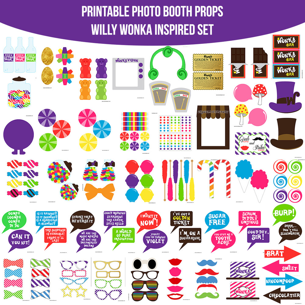 See the Set - To View The Whole Willy Wonka Charlie and the Chocolate Factory Inspired Printable Photo Booth Prop Set Click Here