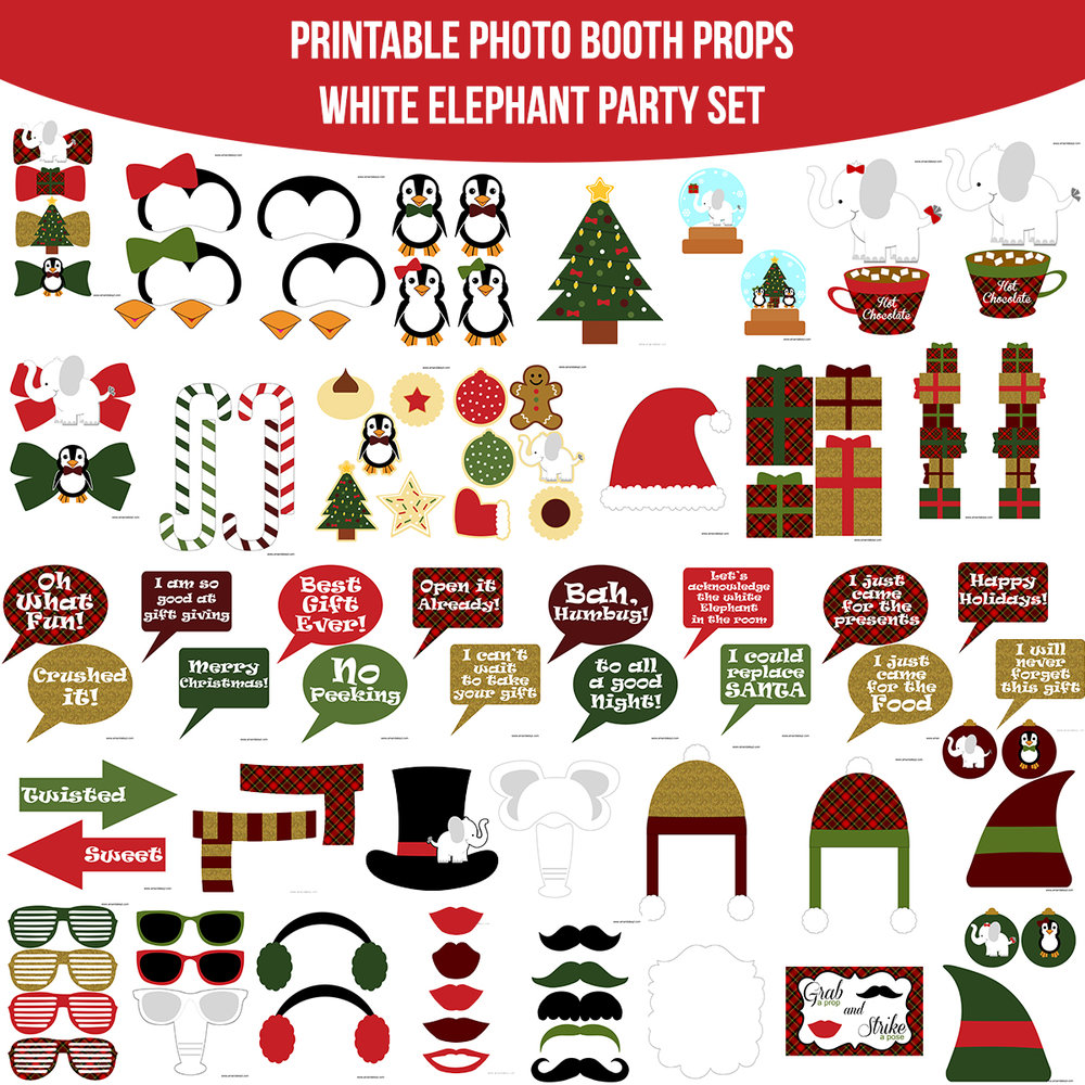 See the Set - To View The Whole White Elephant Party Printable Photo Booth Prop Set Click Here