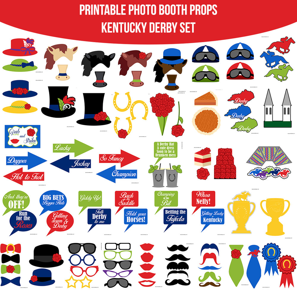 See the Set - To View The Whole Kentucky Derby Printable Photo Booth Prop Set Click Here
