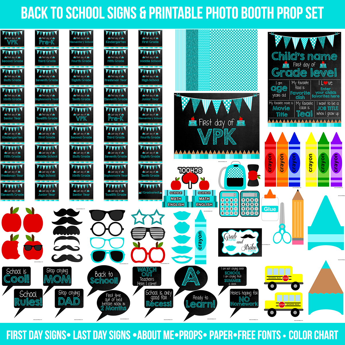photo regarding Printable Back to School Signs identify Quick Obtain Teal Initial and Very last Working day of Faculty Signs or symptoms Printable Photograph Booth Prop Preset Amanda Keyt Printable Models
