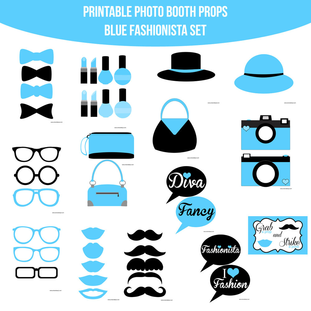 See the Set - To View The Whole Fashionista Teal Printable Photo Booth Prop SetClick Here