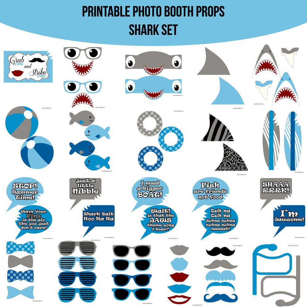 See the Set - To View The Whole Shark Jaws Inspired Printable Photo Booth Prop SetClick Here