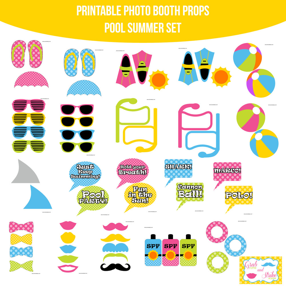See the Set - To View The Whole Pool Party Summer Printable Photo Booth Prop Set Click Here