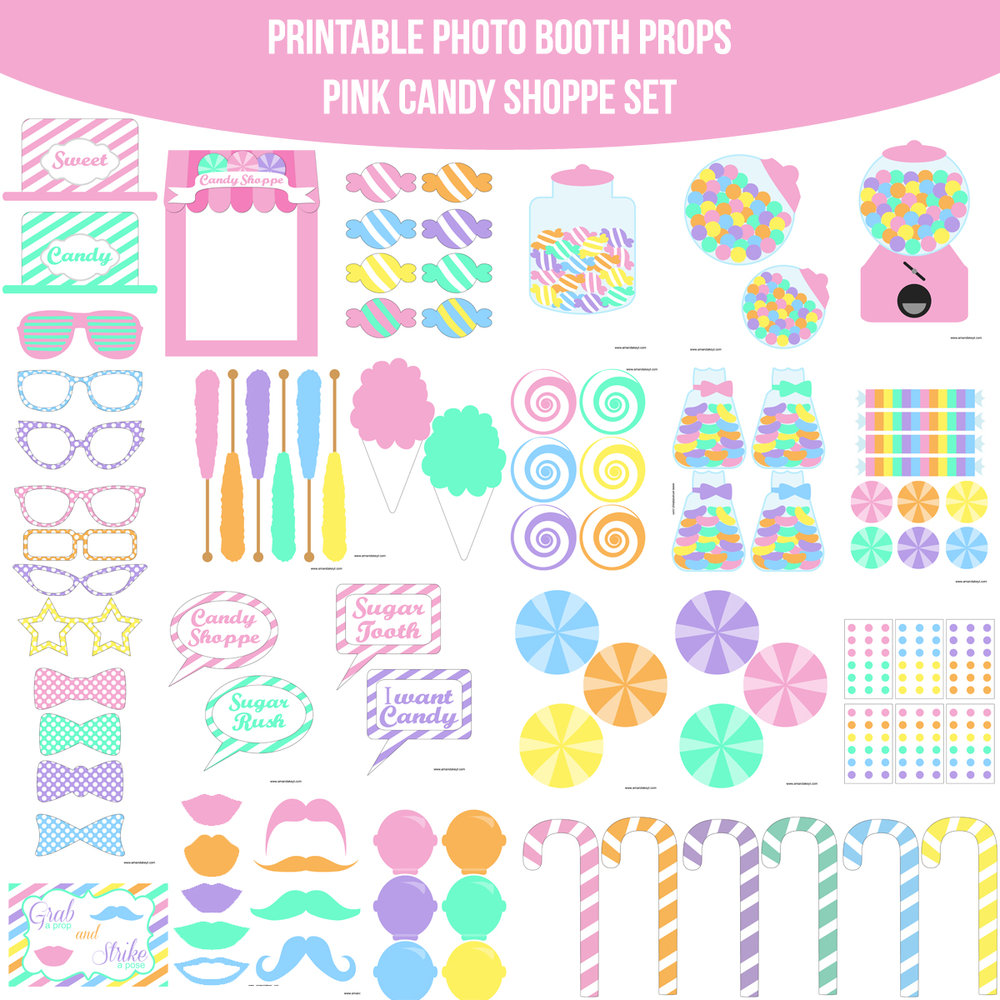 See the Set - To View The Whole Candy Shoppe Pink Candy Crush Inspired Printable Photo Booth Prop Set Click Here