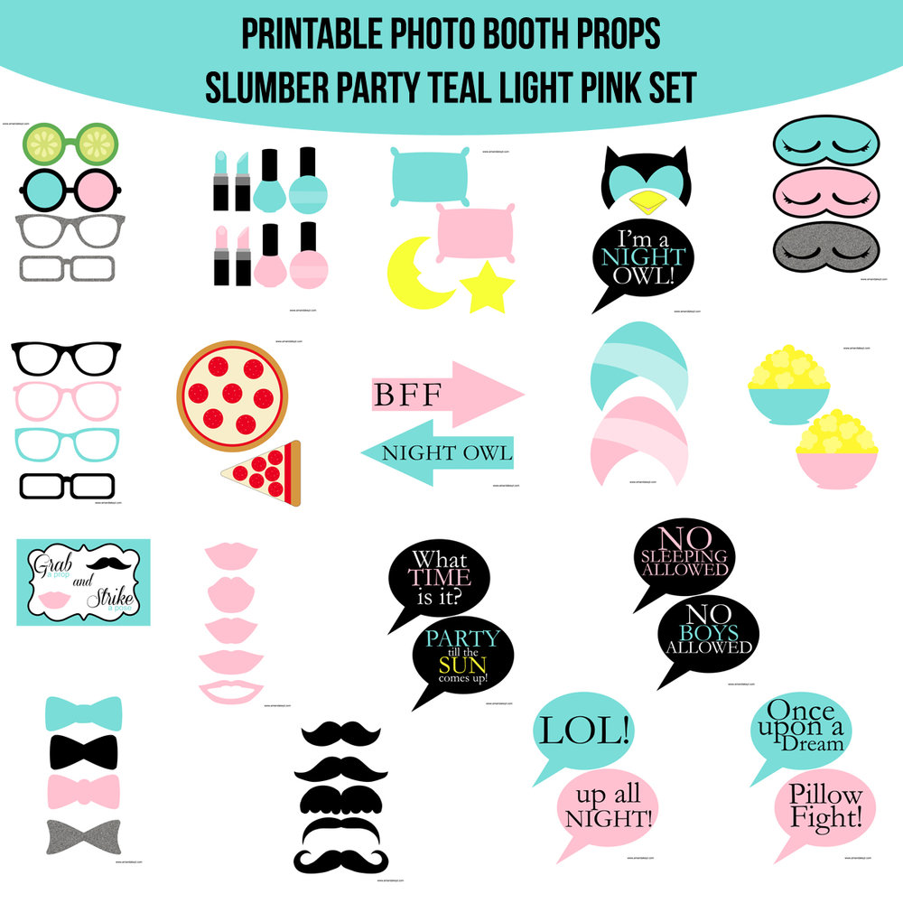 See the Set - To View The Whole Slumber Party Night Owl Teal & Light Pink Printable Photo Booth Prop Set Click Here