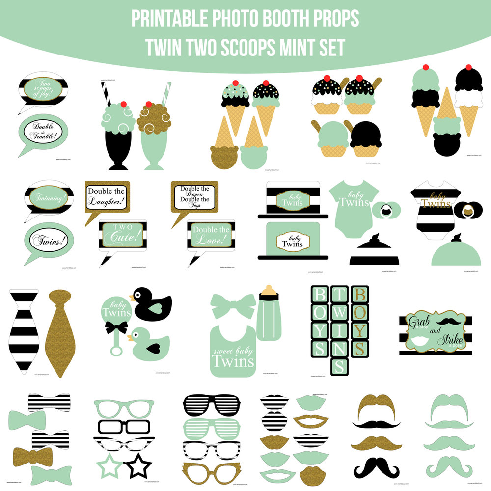 See the Set - To View The Whole Baby Twins Two Scoops Boy Mint Gold Printable Photo Booth Prop Set Click Here