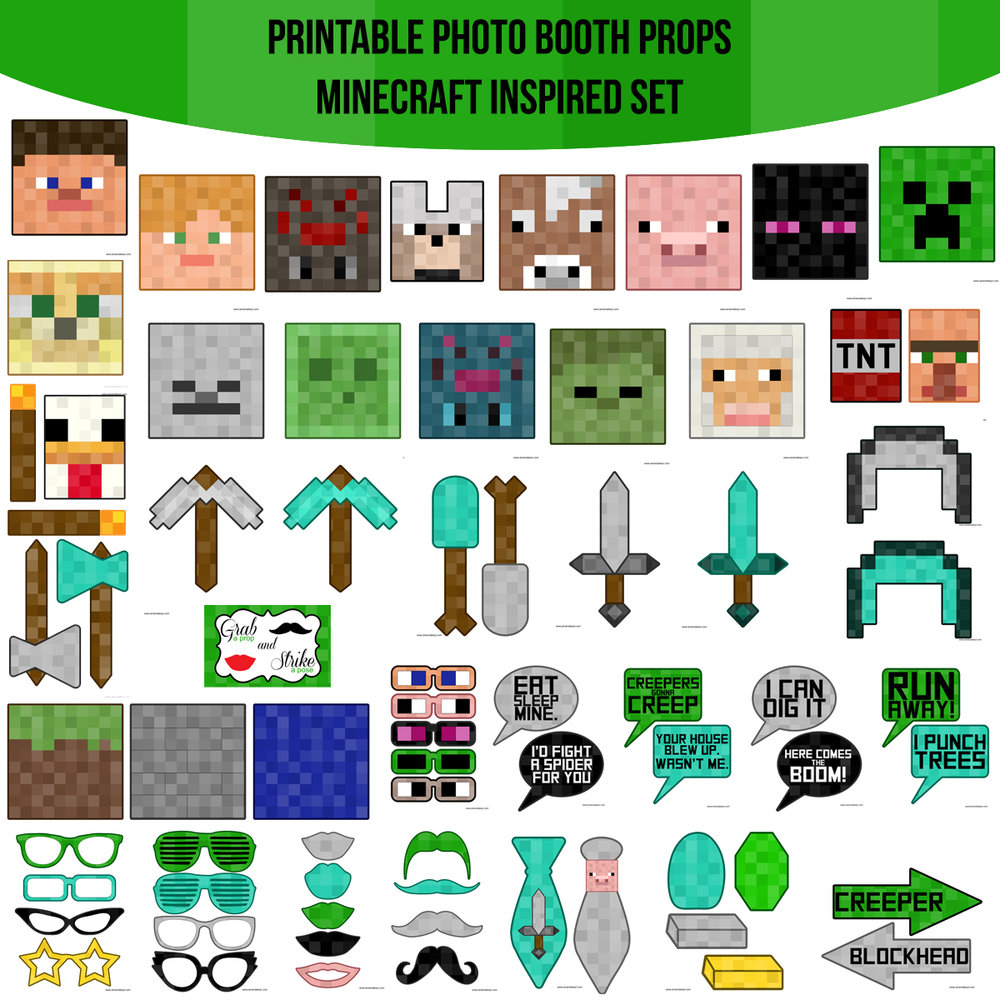 See the Set - To View The Whole Minecraft Inspired Printable Photo Booth Prop Set Click Here