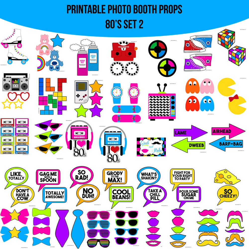 See the Set - To View The Whole 80's 80s Printable Photo Booth Prop Set 2 Click Here