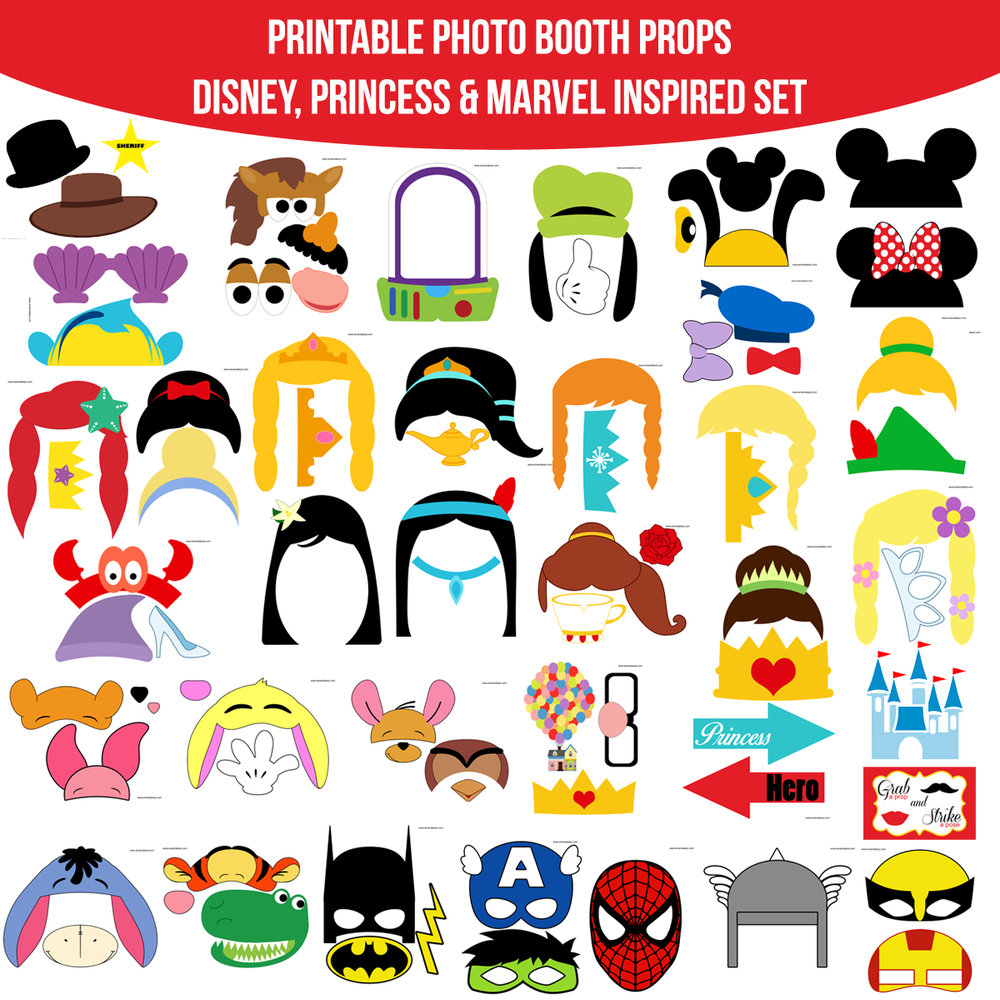 See the Set - To View The Whole Combined Disney Princess Marvel Inspired Printable Photo Booth Prop Set Click Here