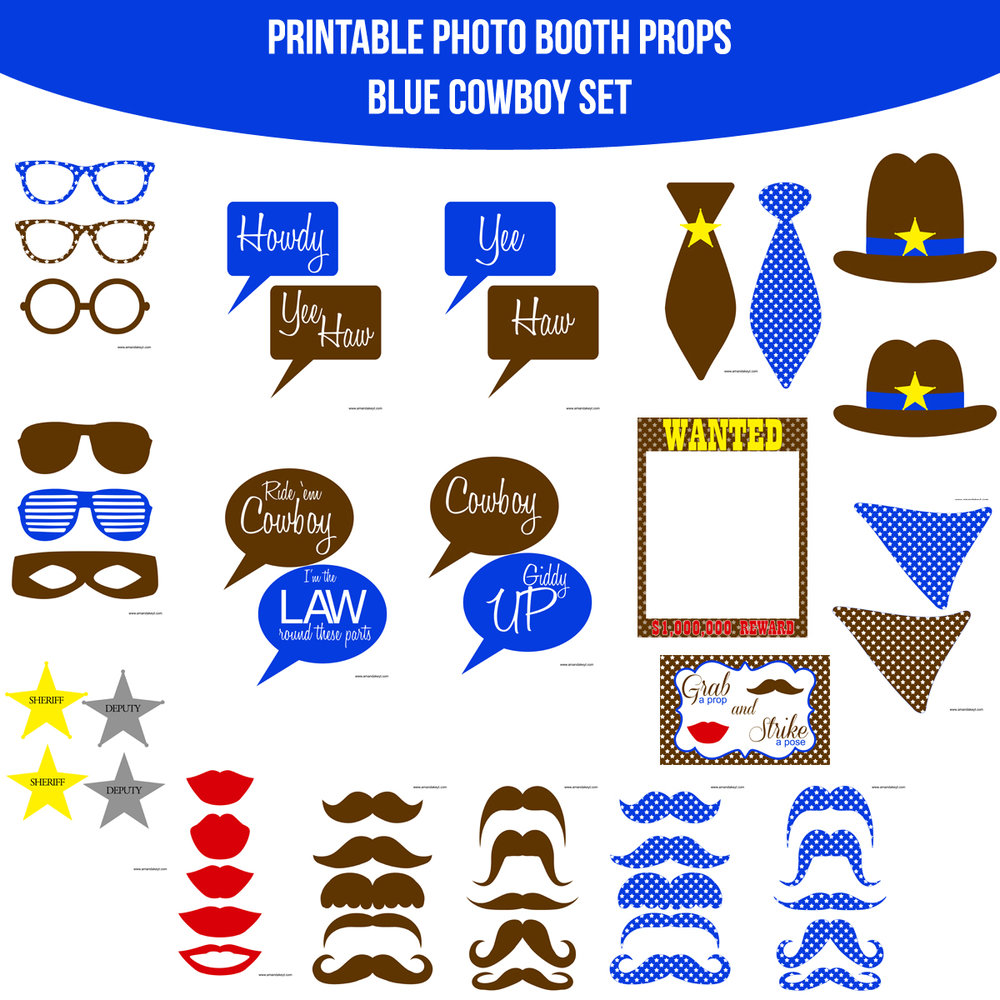 See the Set - To View The Whole Cowboy Blue Printable Photo Booth Prop Set Click Here