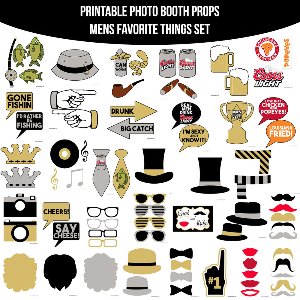 See the Set - To View The Whole Mens Favorite Things Printable Photo Booth Prop Set Click Here