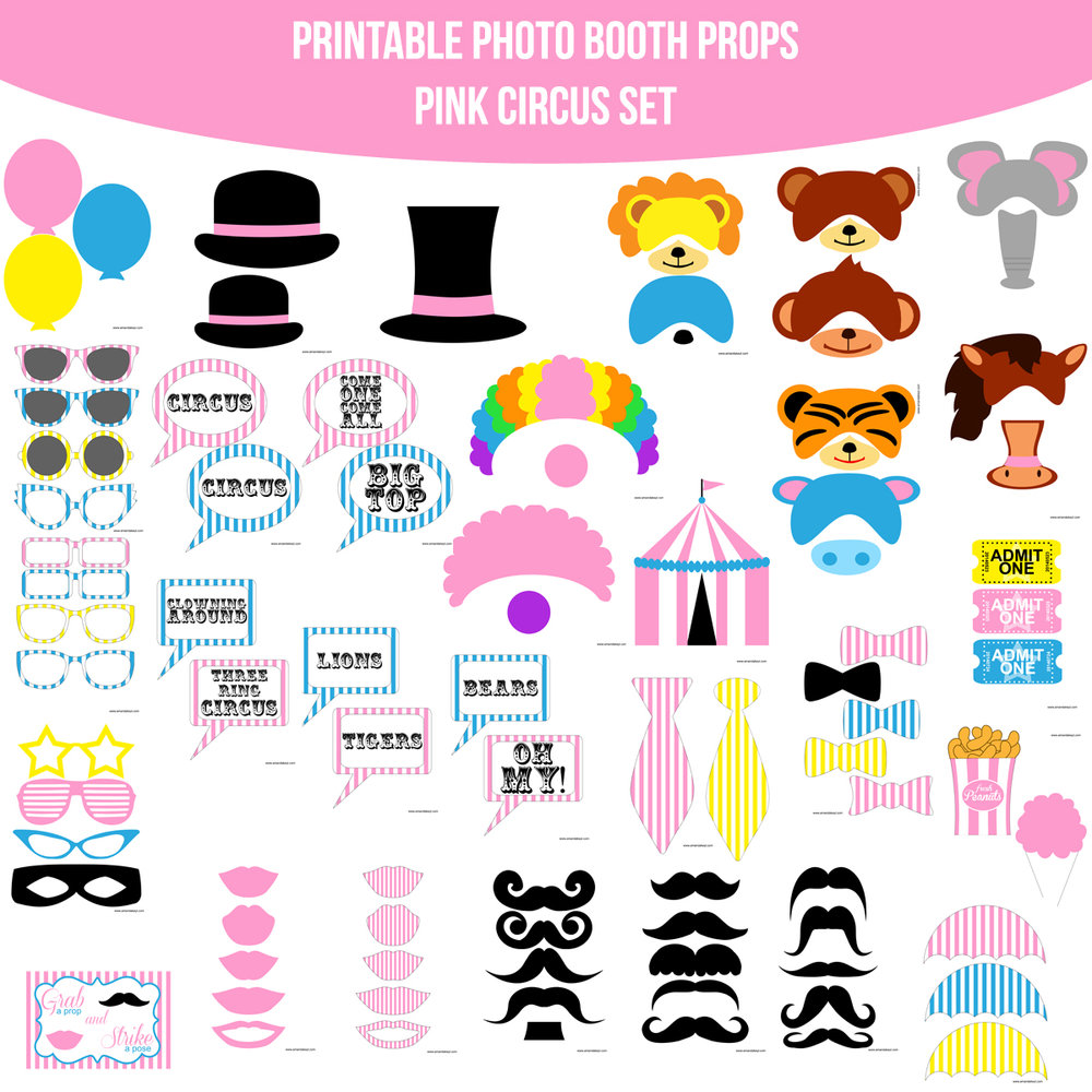 See the Set - To View The Whole Circus Pink Printable Photo Booth Prop Set Click Here