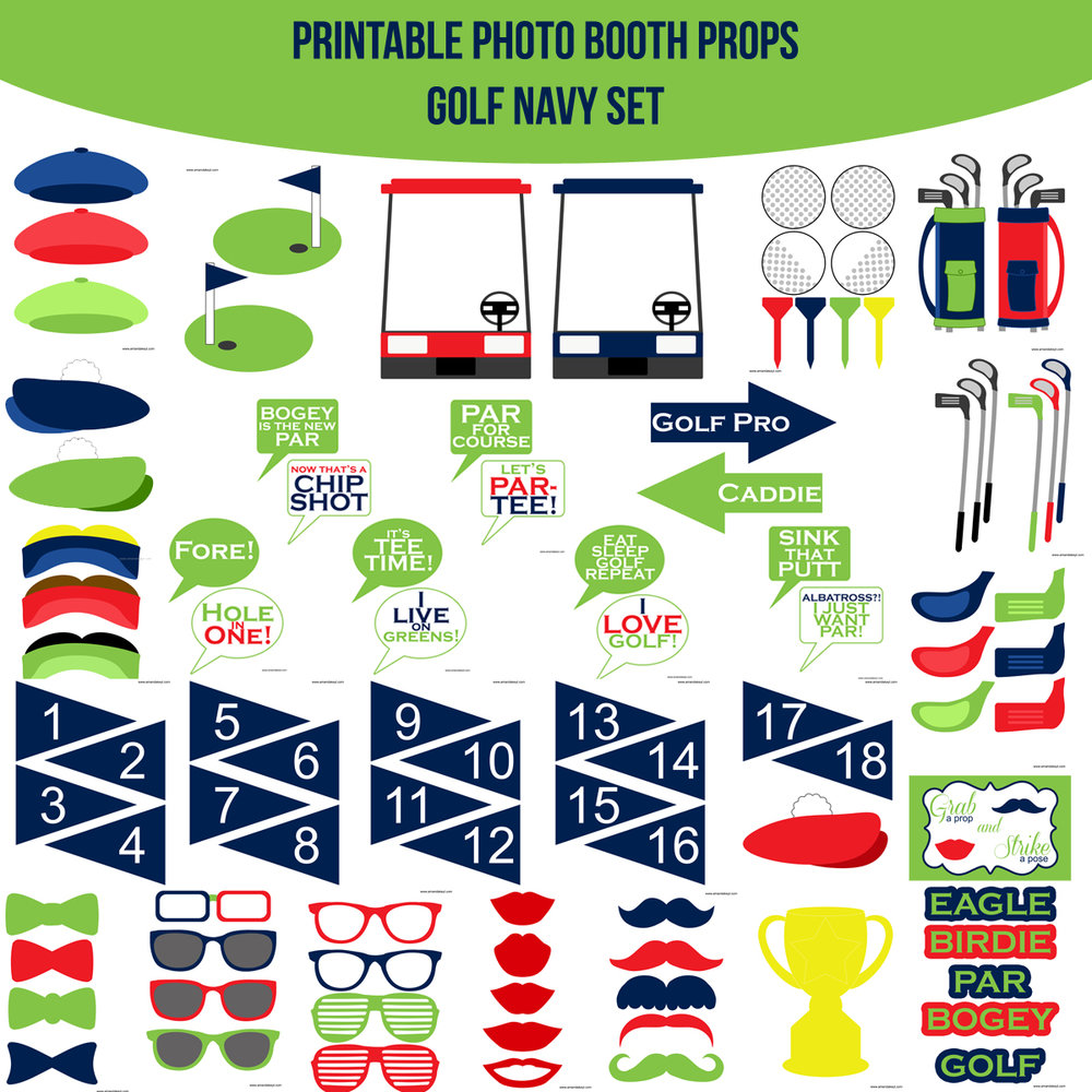 See the Set - To View The Whole Golf Navy Printable Photo Booth Prop Set Click Here
