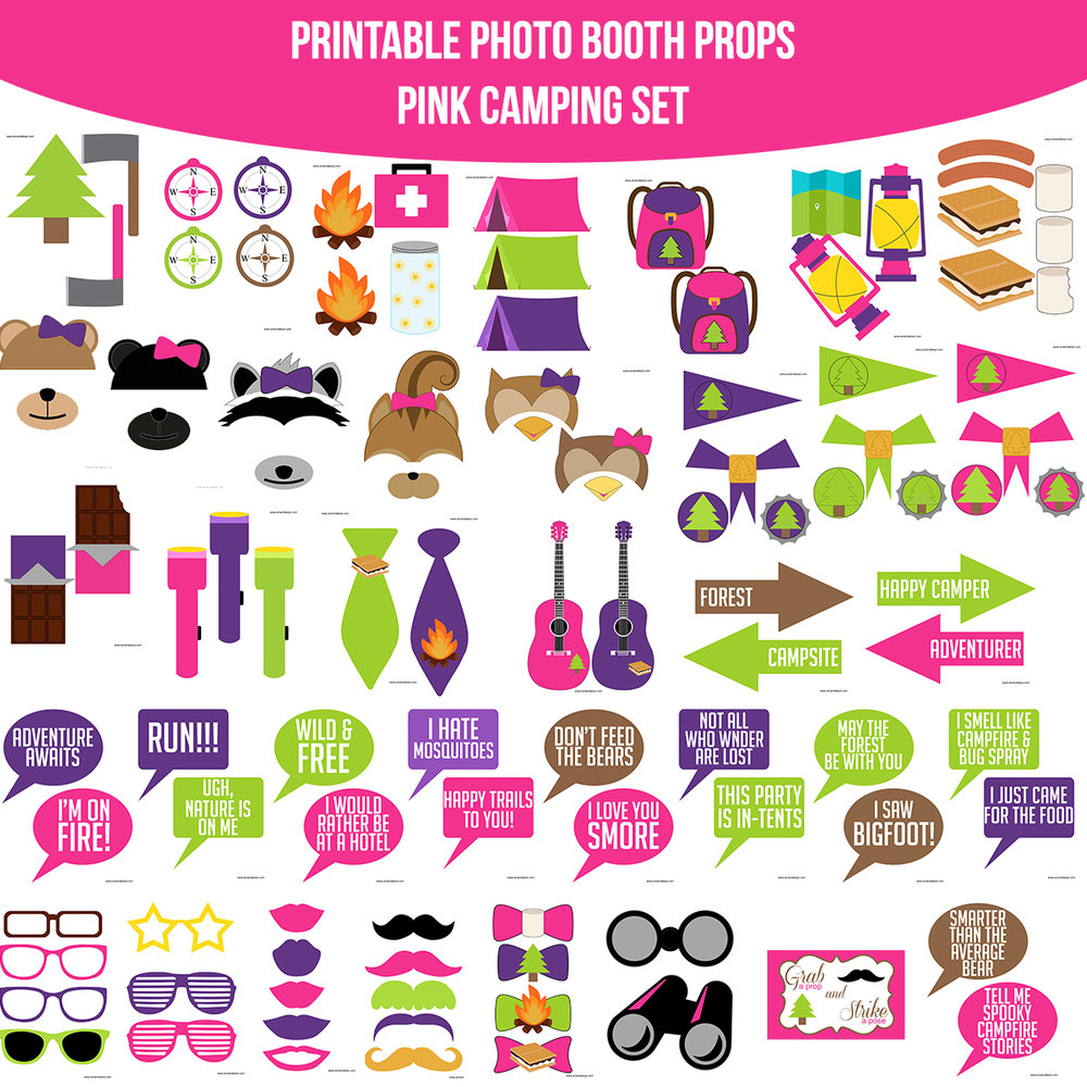 See the Set - To View The Whole Pink Camping Printable Photo Booth Prop Set Click Here