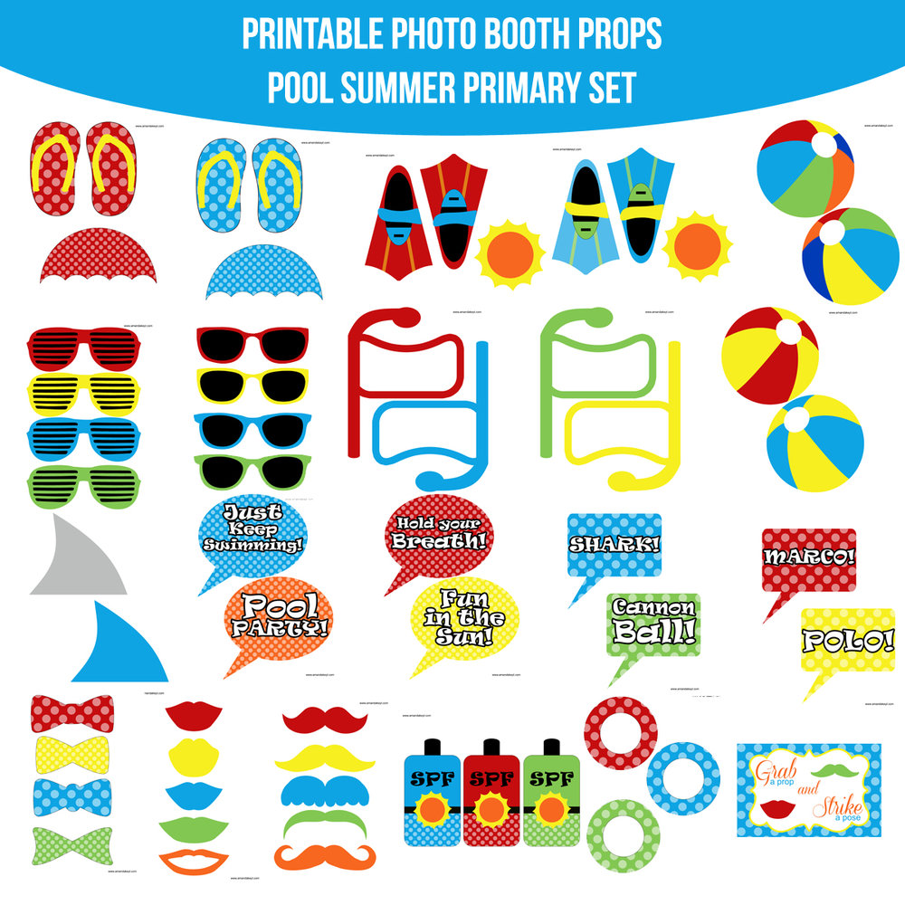 See the Set - To View The Whole Primary Pool Party Summer Printable Photo Booth Prop Set Click Here